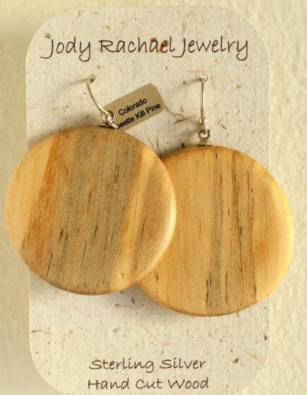 Pine Beetle Round Wood Earrings (Jody Rachael Jewelry)