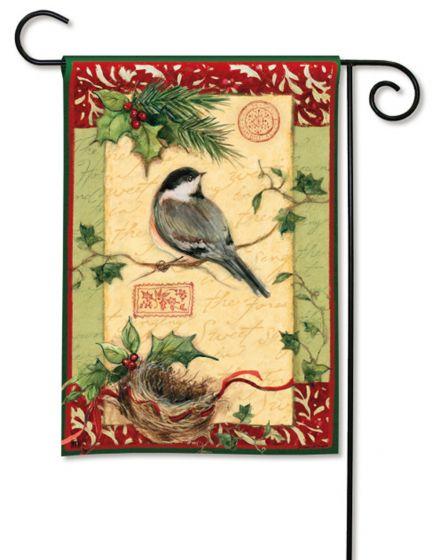 Holiday Chickadee Small Garden Flag