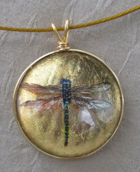 Dragonfly Glass Pendant Necklace