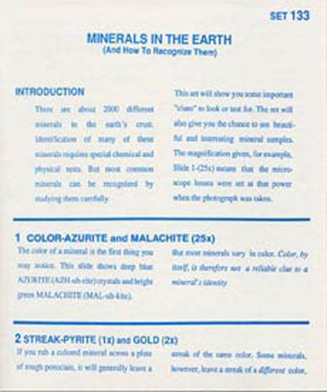 Minerals Of The Earth (Microslide® Lesson Set).