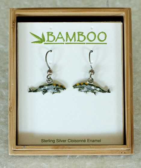 Gray Whale And Calf Earrings (Bamboo Jewelry).