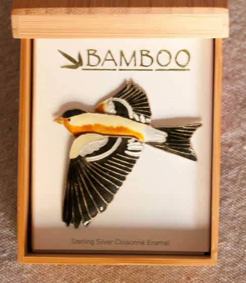 Goldfinch Pin (Bamboo Jewelry)