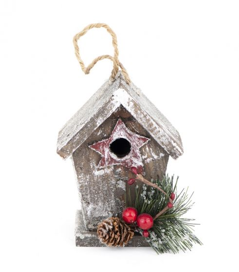 Wooden Holiday Bird House Ornament