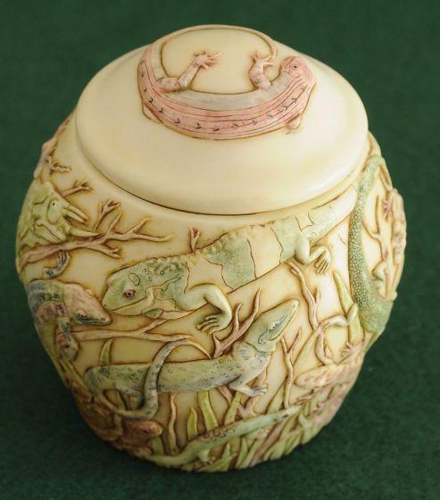 Lizard Collage Jar