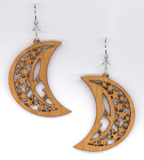 Moon & Stars Cherry Wood Earrings