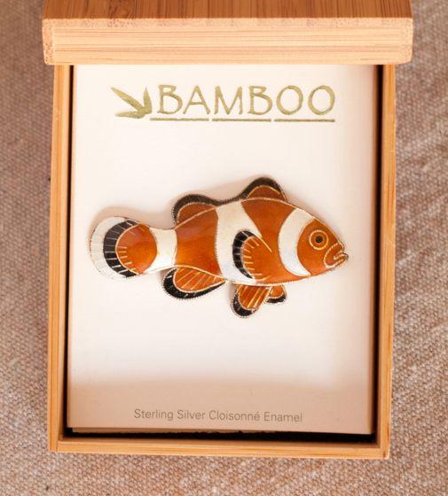 Clownfish Pin (Bamboo Jewelry).