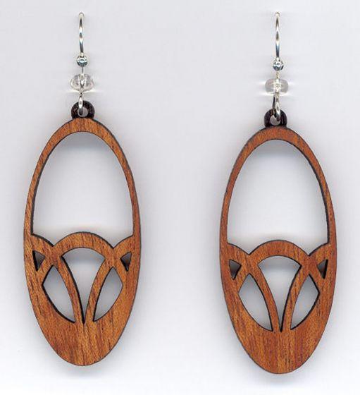 Ovals Mahogany Wood Earrings