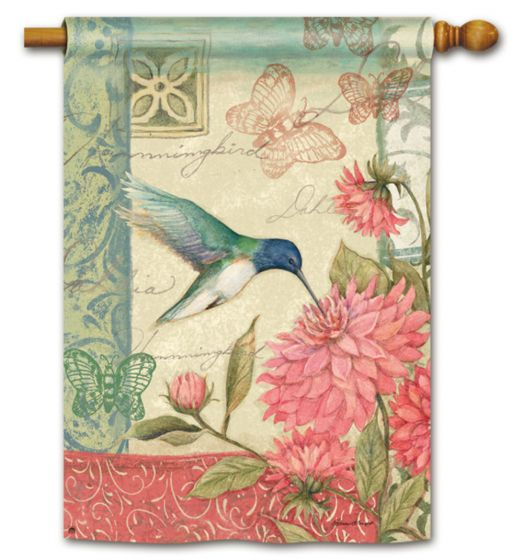 Pastel Hummingbird Large Standard Flag