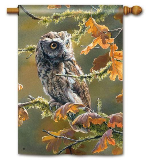 Autumn Owl Large Standard Flag