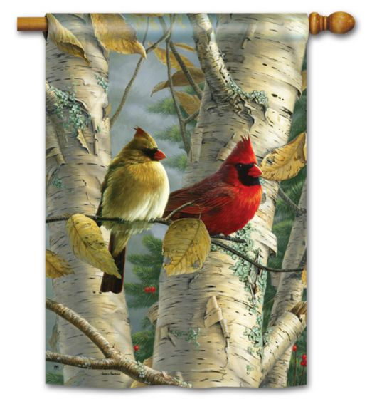 Cardinals In Birch Large Standard Flag