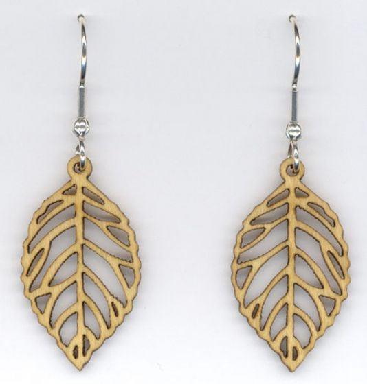 Leaves Small Maple Wood Earrings