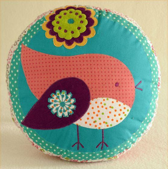 Patchwork Birdie Pillow.