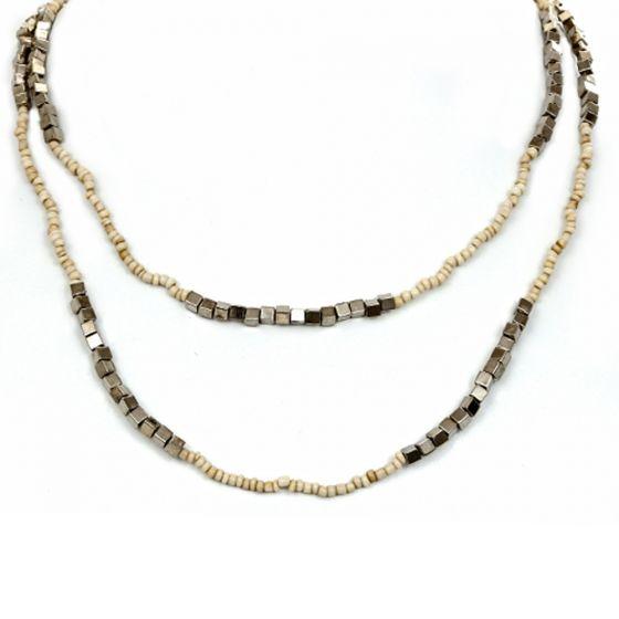Bali Beaded Necklace (Crème)