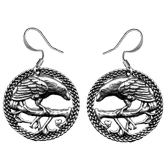 Pewter Raven Earrings