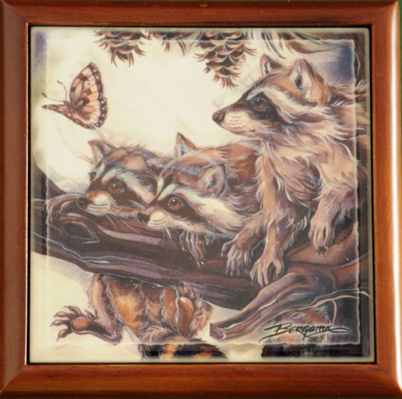 Raccoons Tile Wood Box