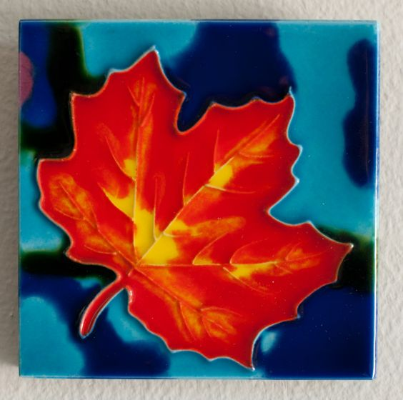 Orange Maple Leaf Tile