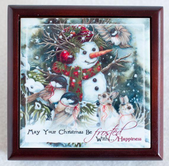 Snowman Tile Wooden Box