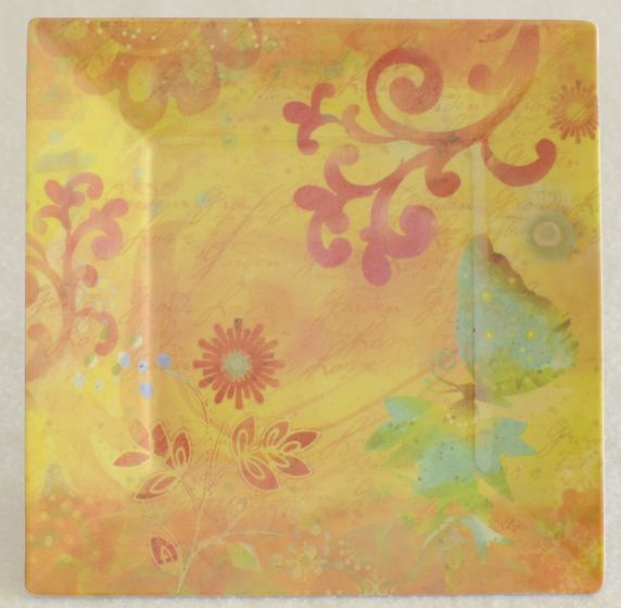 Butterflies On Gold Melamine Plate