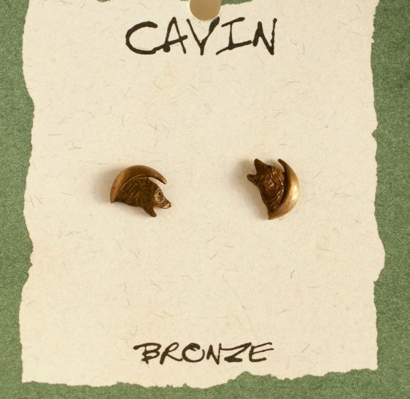 Wolf Moon Bronze Earrings (Wildlife In Bronze)
