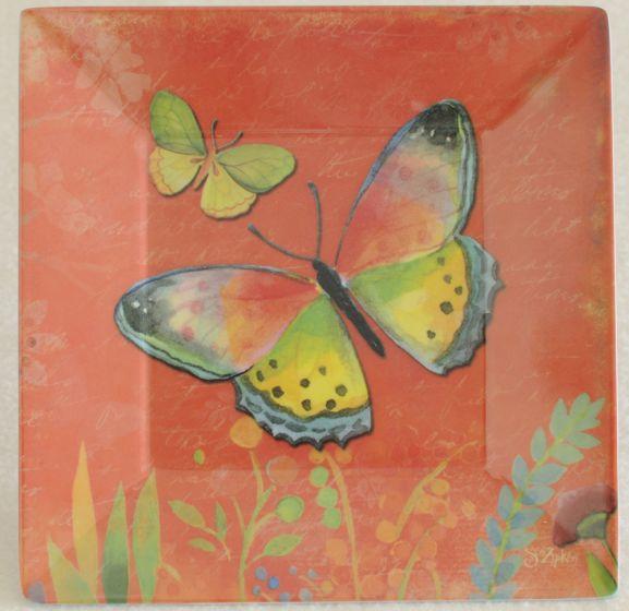 Butterflies On Red Melamine Plate