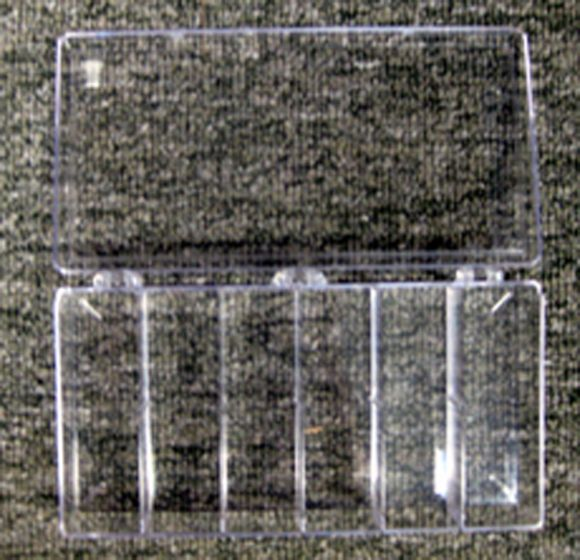 "Six-Chambered Clear Storage Box (4"" X 8"" X 1¼"")"