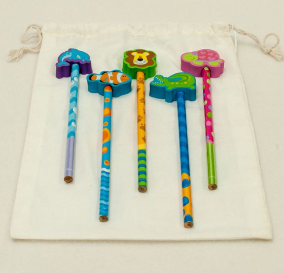 Fun Animal-Eraser Pencils (Set Of 5)