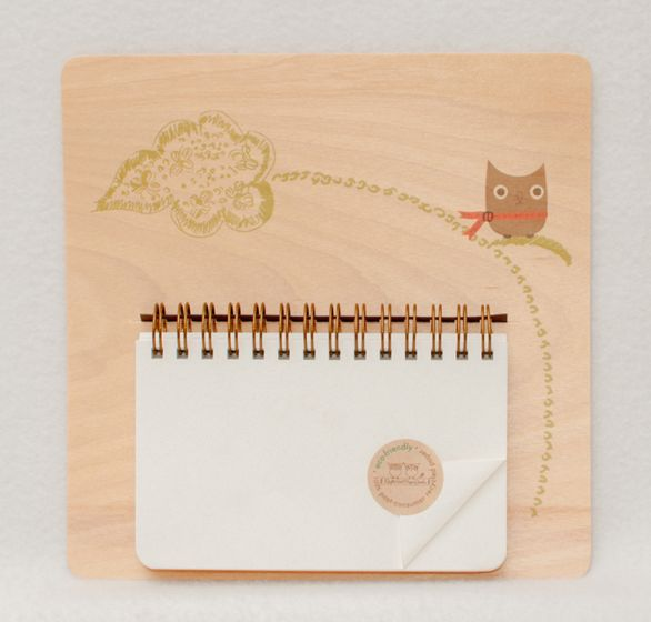 Notepad With Whimsical Owl Wooden Backing