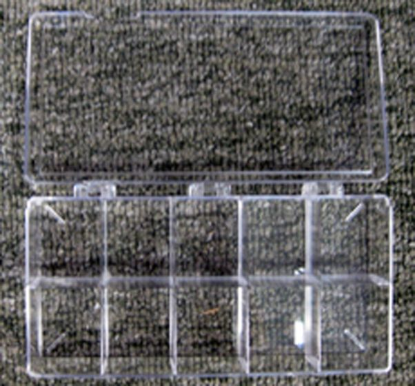 "Ten-Chambered Clear Storage Box (3¼"" X 7"" X 1¼"")."