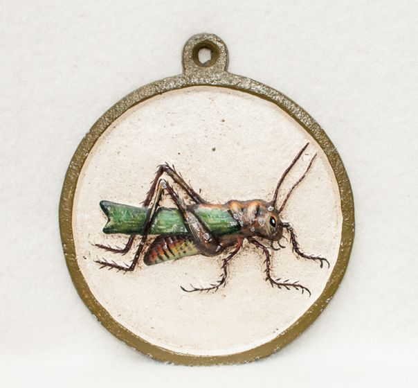 Painted Metal Grasshopper Wall Plaque.