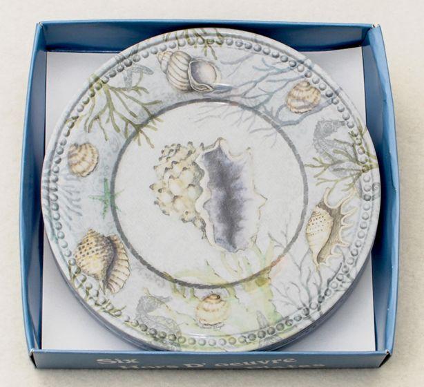 Seashell Appetizer Plates (Boxed Set Of Six)