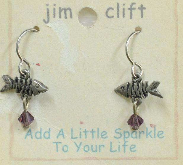 Pewter Fishbone Earrings