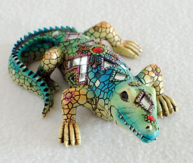 Mosaic Alligator Figurine