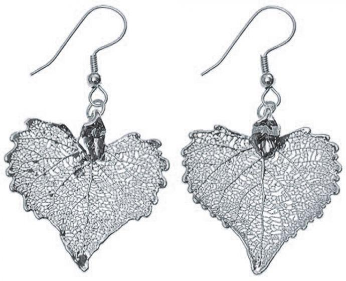 Cottonwood Leaf Silver Earrings