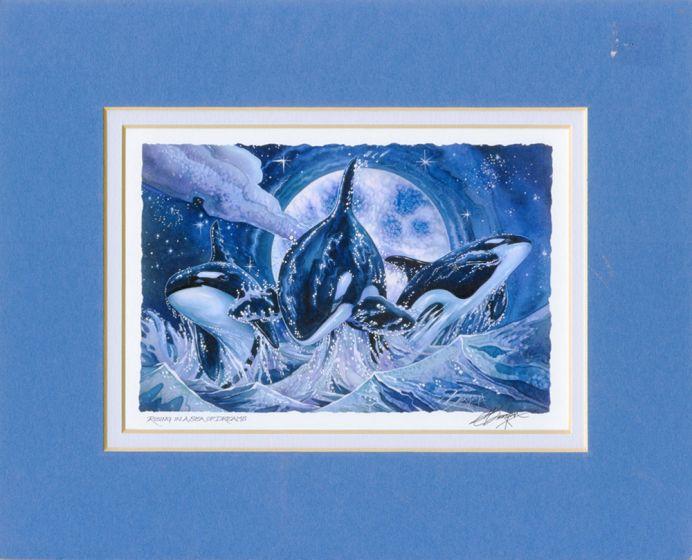 Orcas Rising In A Sea Of Dreams Print