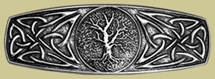 Pewter World Tree Barrette