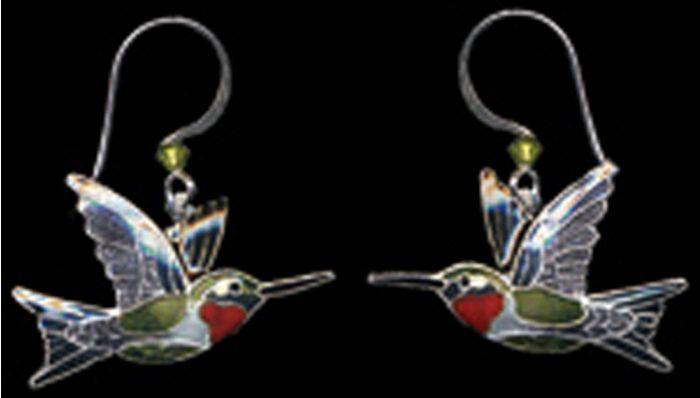 Ruby-Throated Hummingbird Earrings (Dangle)