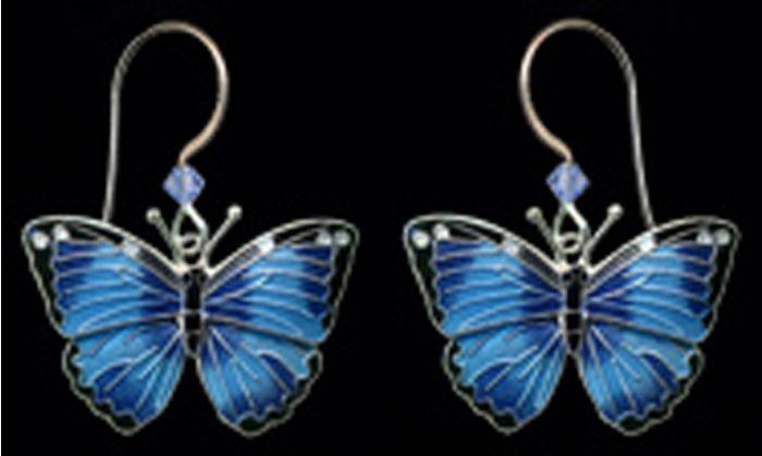 Blue Morpho Butterfly Earrings (Dangle)