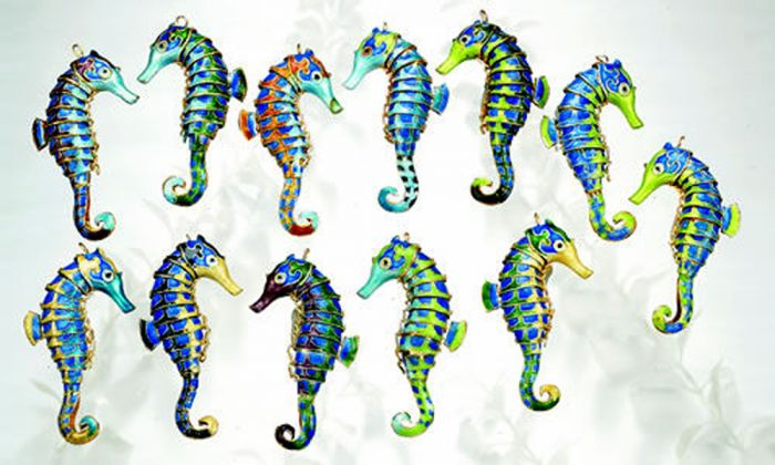 Seahorse Enamel Ornament
