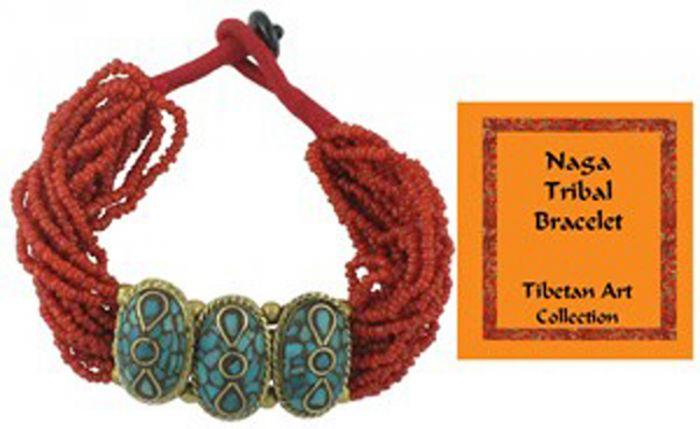 Tibetan Naga Tribal Bracelet (Red).