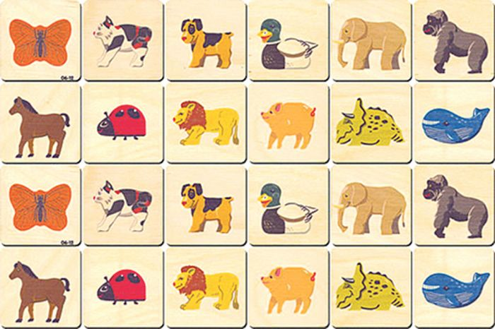 Wooden Memory Tiles: Animals