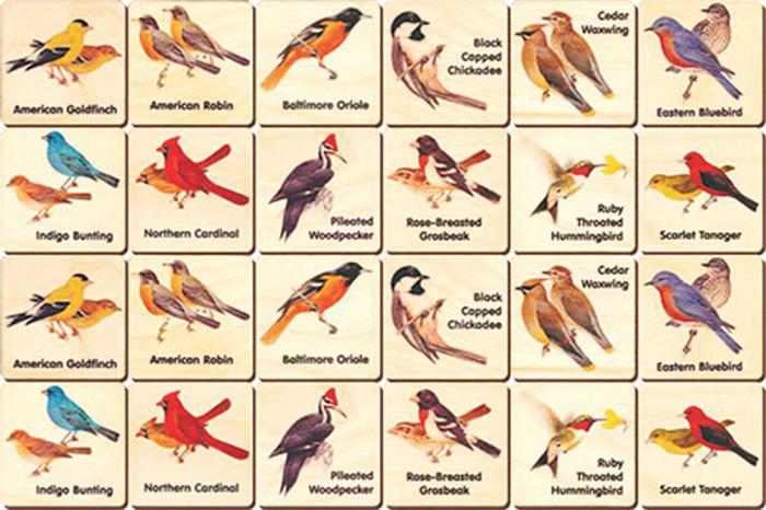 Wooden Memory Tiles: Birds