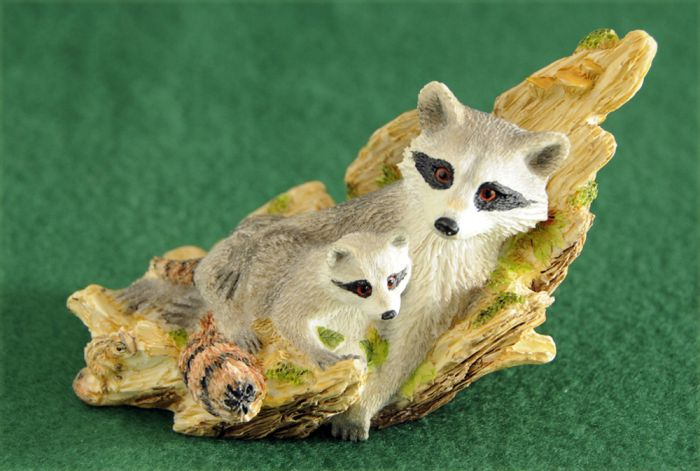Raccoon And Kit Sculpture