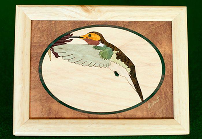 Hummingbird Wood Box (6 X 8)