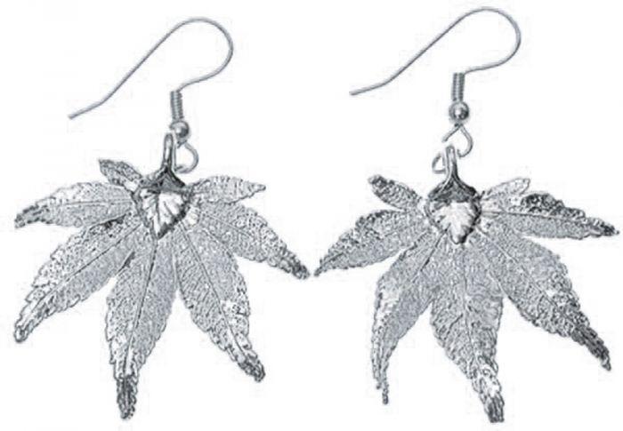 Japanese Maple Leaf Silver Earrings