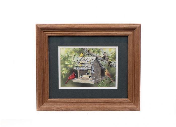"Birdfeeder ""Summer Feast"" Framed Print (5"" x 7"")"