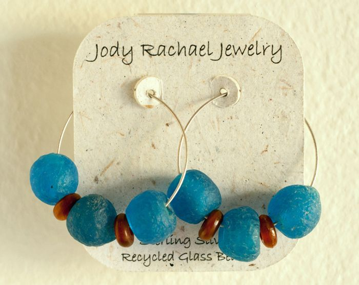 Recycled Glass Hoop Earrings (Jody Rachael Jewelry)