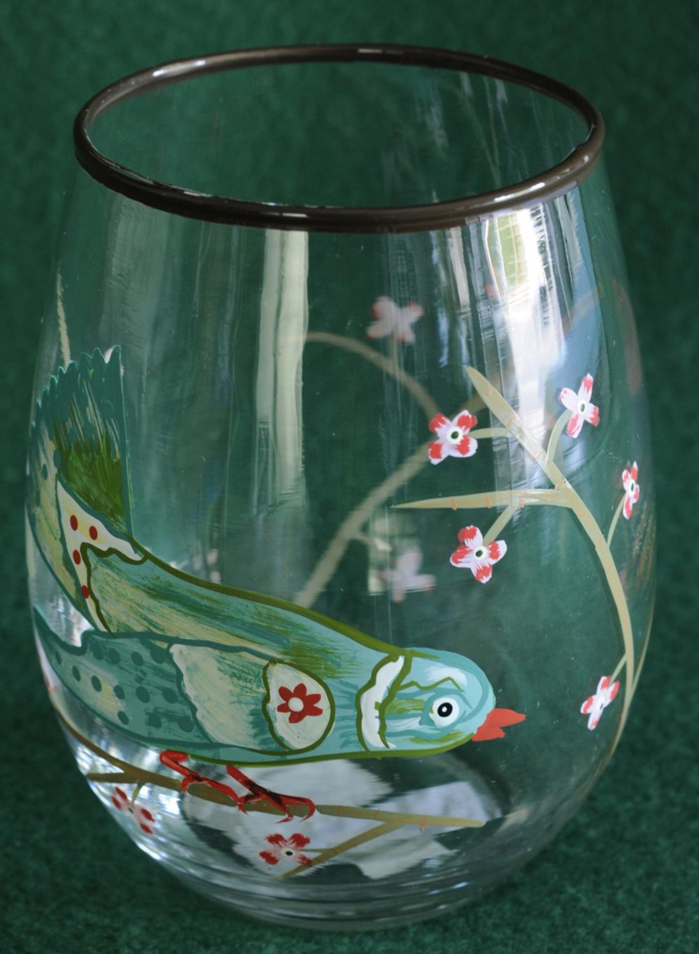 Painted Bird Stemless Glass