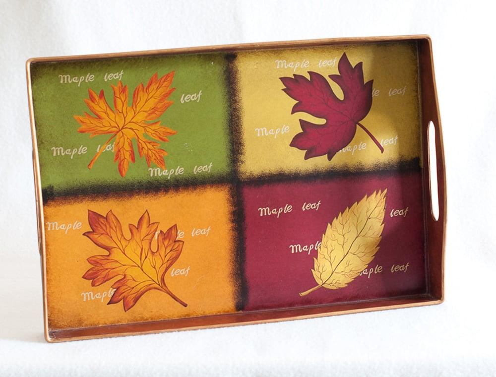 Fall Leaves Metal Tray