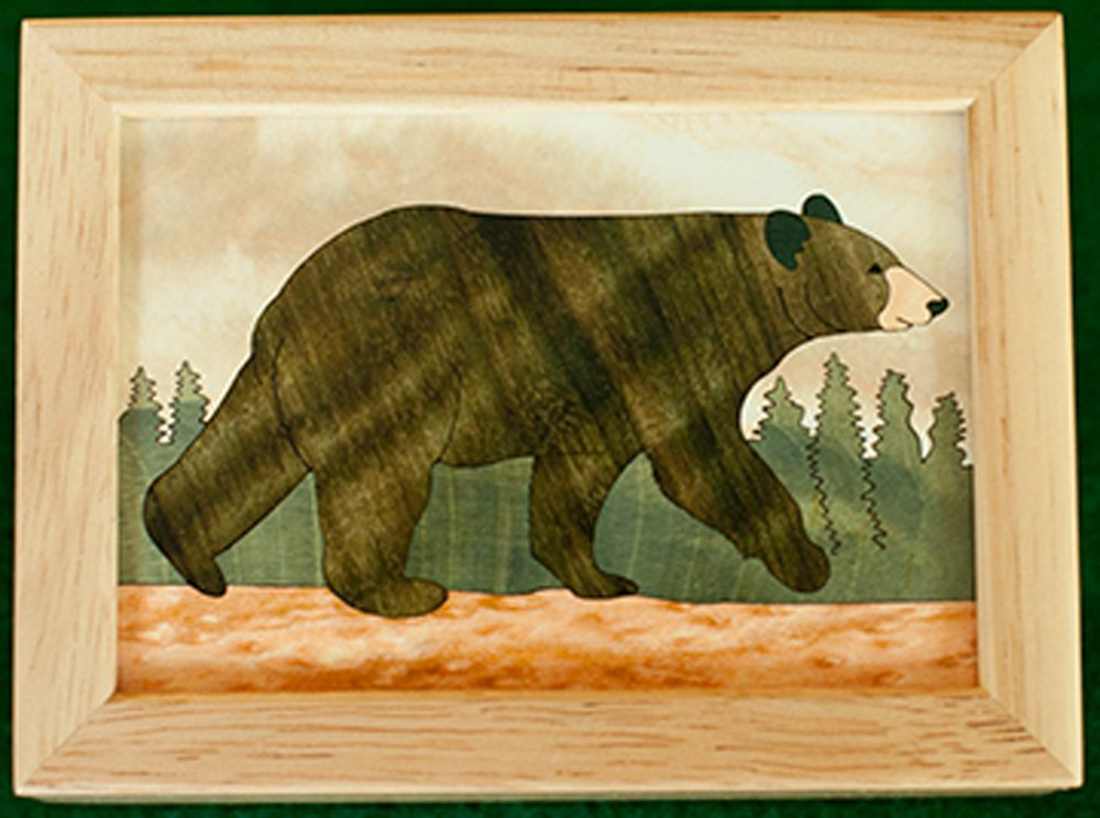 "Black Bear Wood Box (4"" x 5"")"